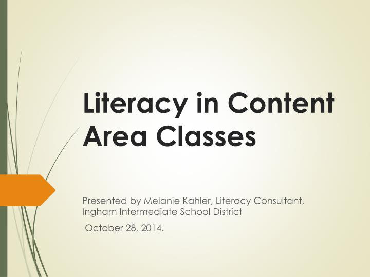 literacy in content area classes n.