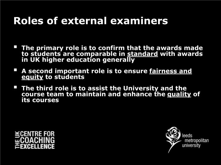 Roles Of External Examiners