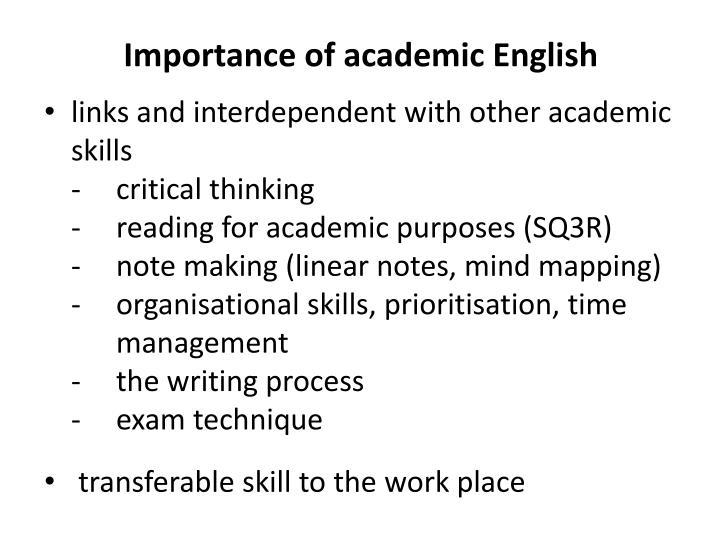 Importance of academic English