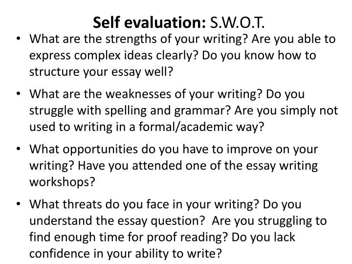 Self evaluation: