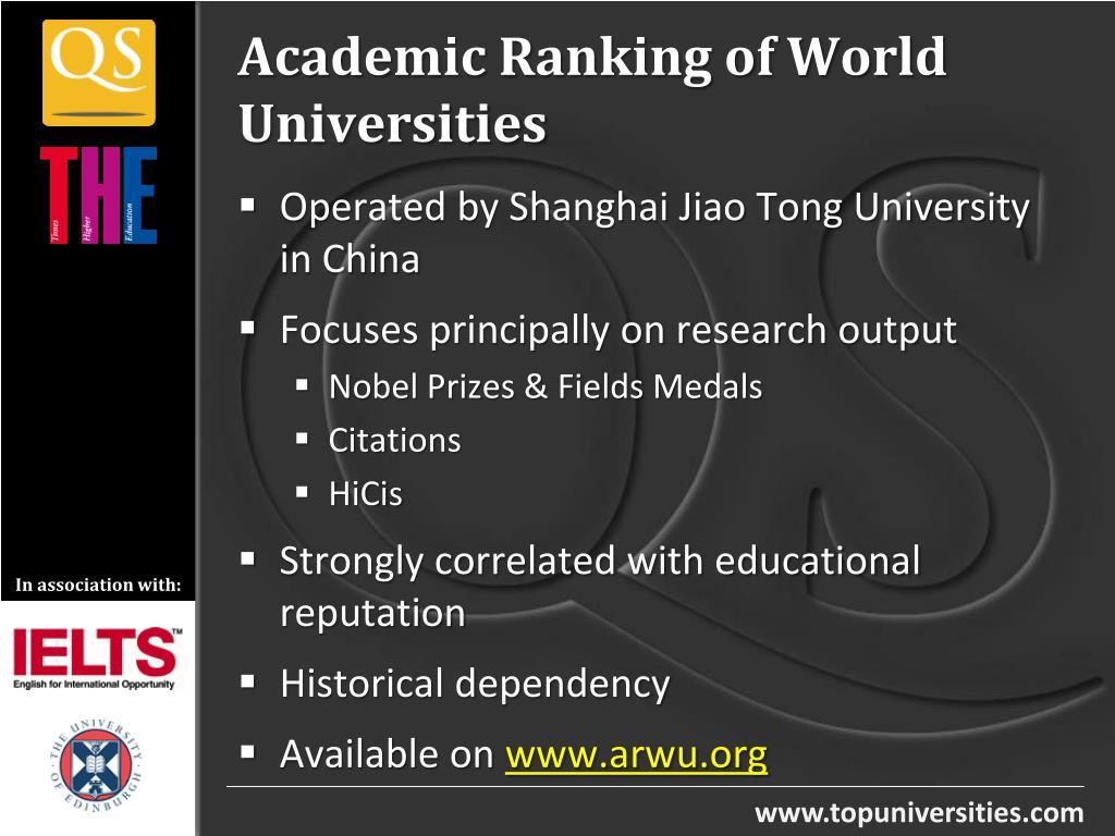 PPT - Times Higher - QS World University Rankings Methodology