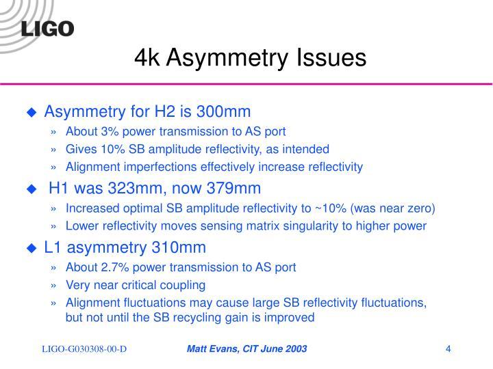4k Asymmetry Issues
