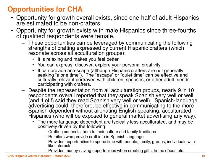 Opportunities for CHA