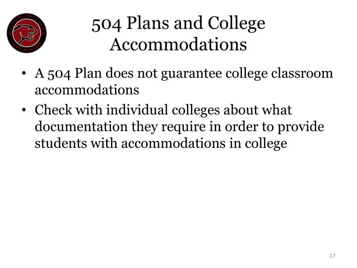 504 Plans and College Accommodations