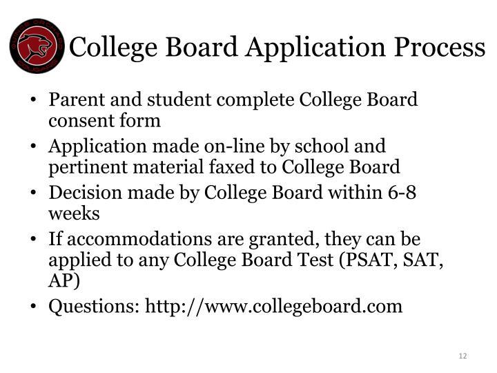 College Board Application Process