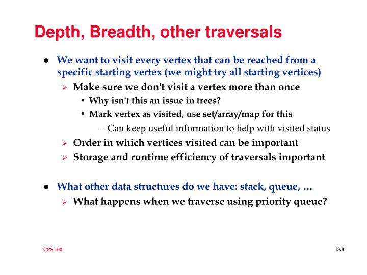 Depth, Breadth, other traversals