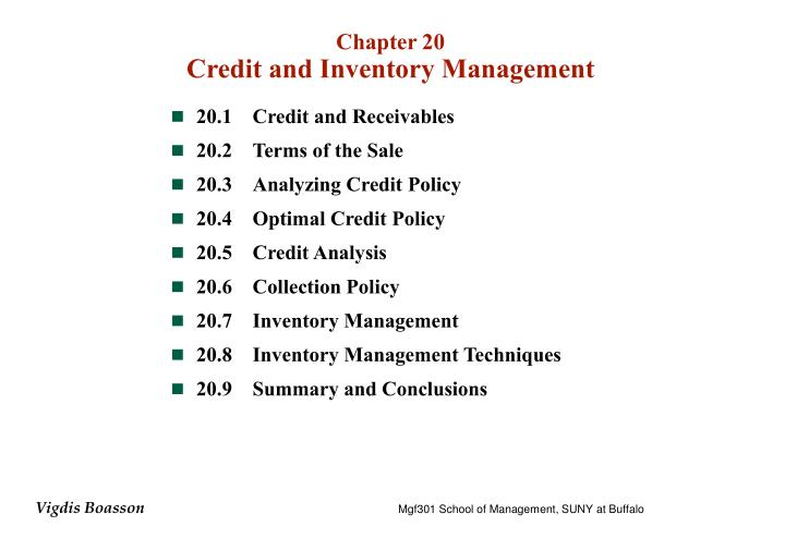 chapter 20 credit and inventory management n.
