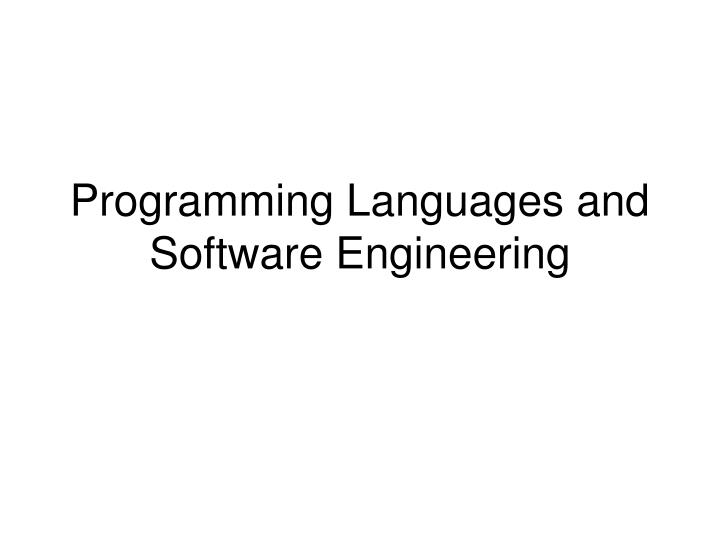 programming languages and software engineering n.