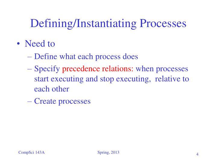 Defining/Instantiating Processes