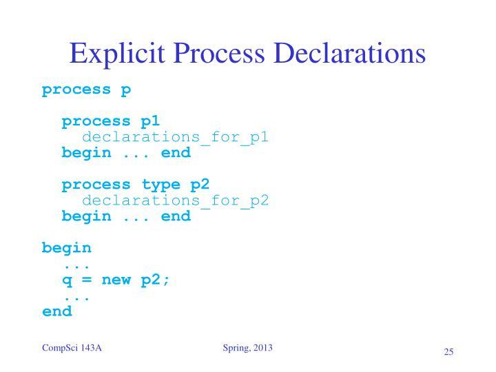 Explicit Process Declarations
