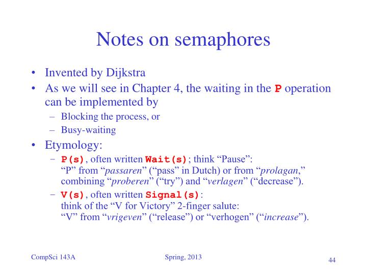 Notes on semaphores
