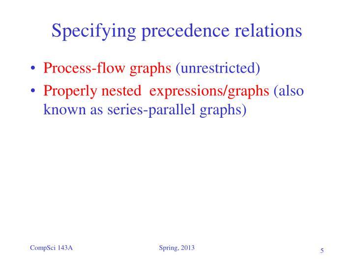 Specifying precedence relations