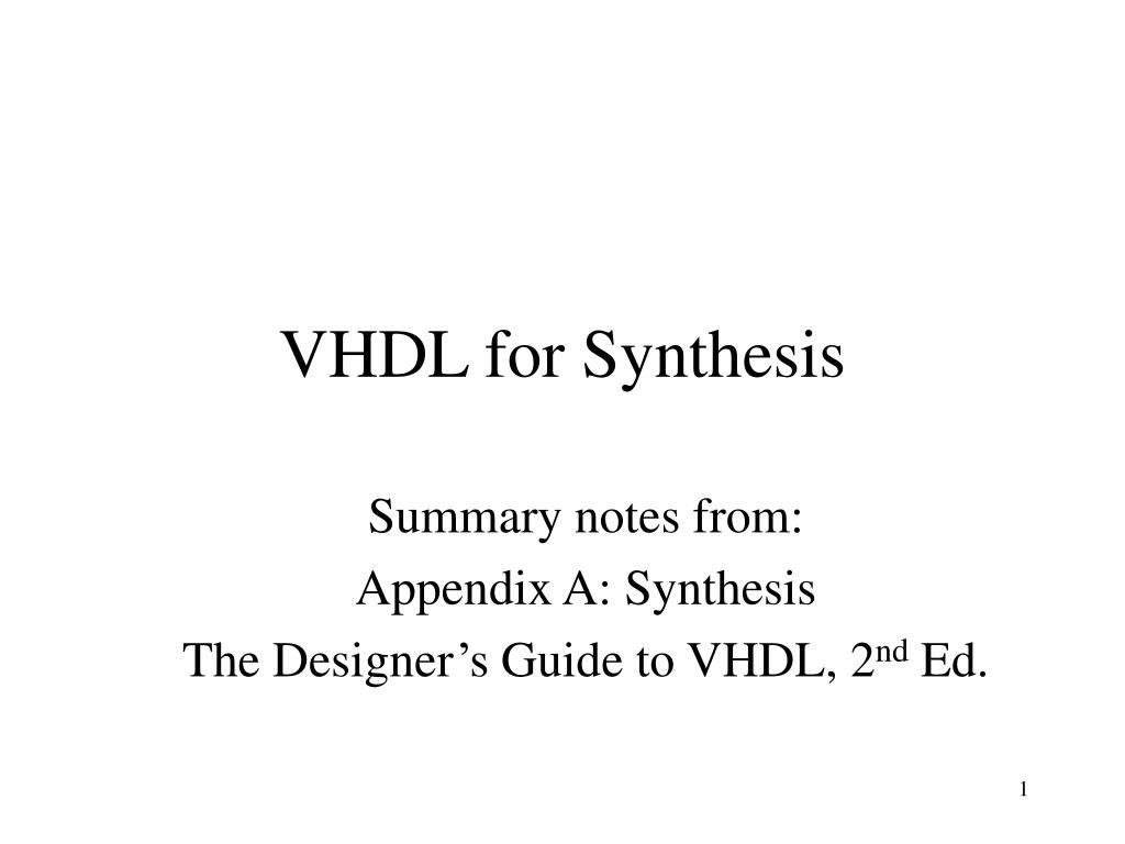 Ppt Vhdl For Synthesis Powerpoint Presentation Free Download Id 6158833