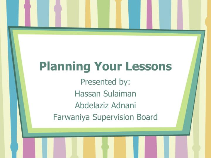 planning your lessons n.