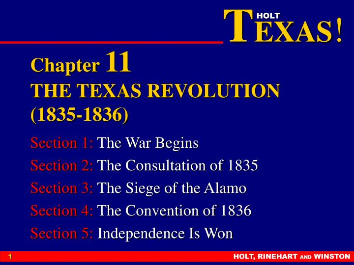 PPT - Chapter 11 THE TEXAS REVOLUTION (1835-1836 ...