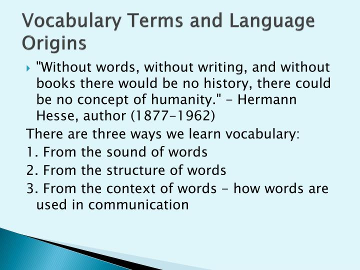 vocabulary terms and language origins n.