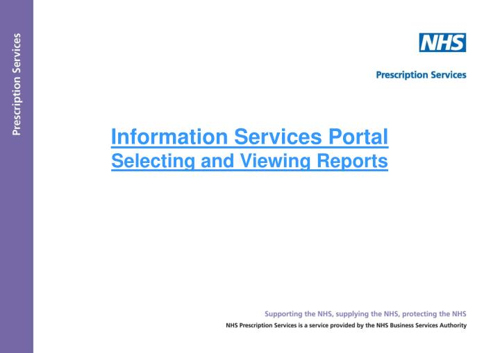 information services portal selecting and viewing reports n.