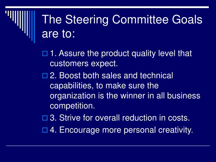The Steering Committee Goals are to: