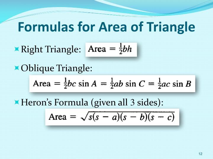 Formulas for Area of Triangle