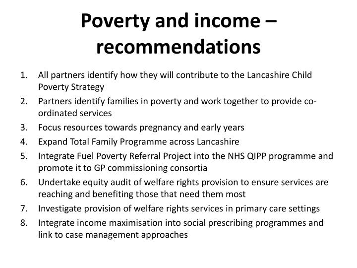 Poverty and income – recommendations