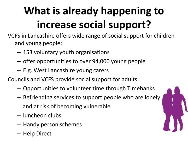 What is already happening to increase social support?
