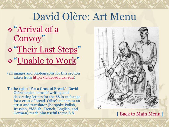 David Olère: Art Menu
