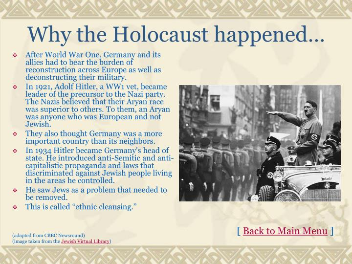 Why the Holocaust happened…