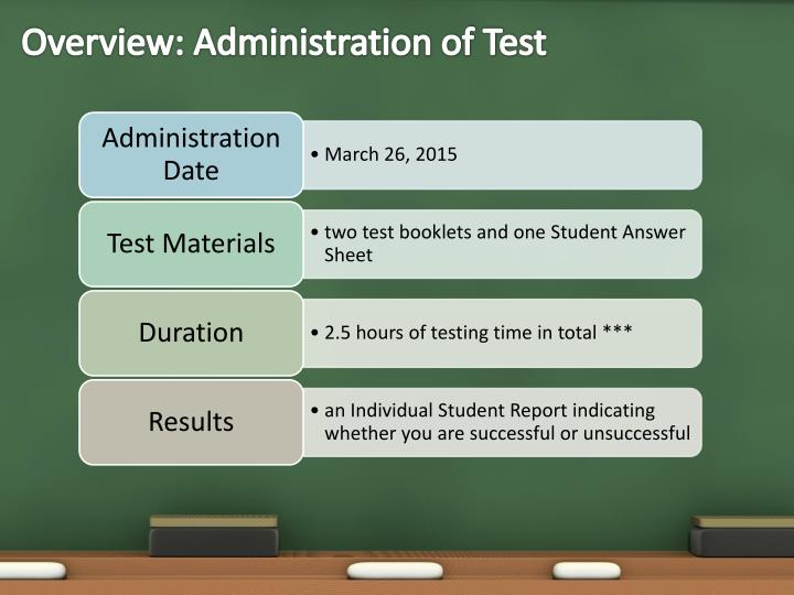 Overview administration of test