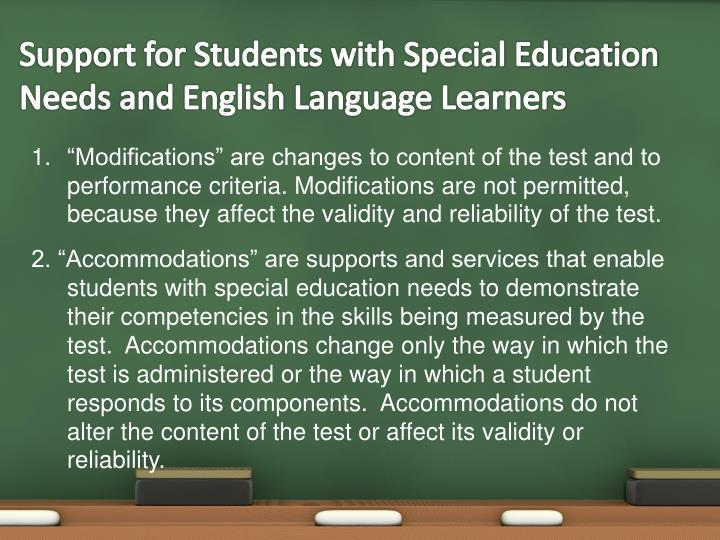 Support for Students with Special Education Needs and English Language Learners