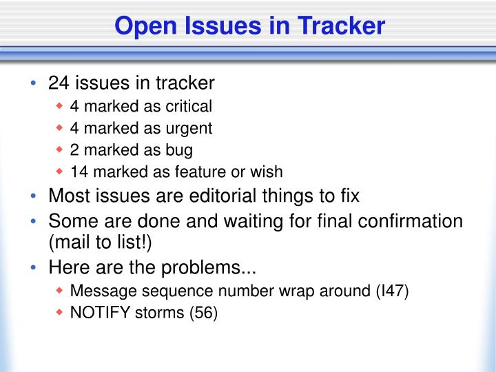Open Issues in Tracker