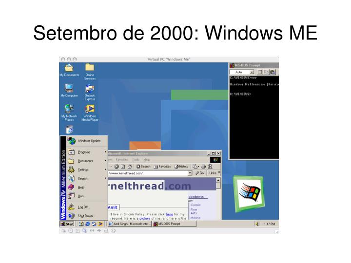 Setembro de 2000: Windows ME