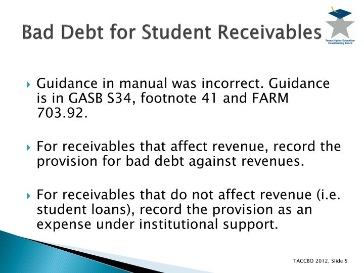 Bad Debt for Student Receivables