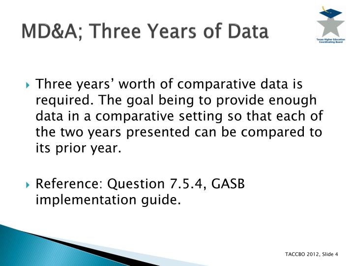 MD&A; Three Years of Data
