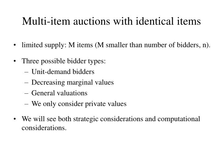 multi item auctions with identical items n.