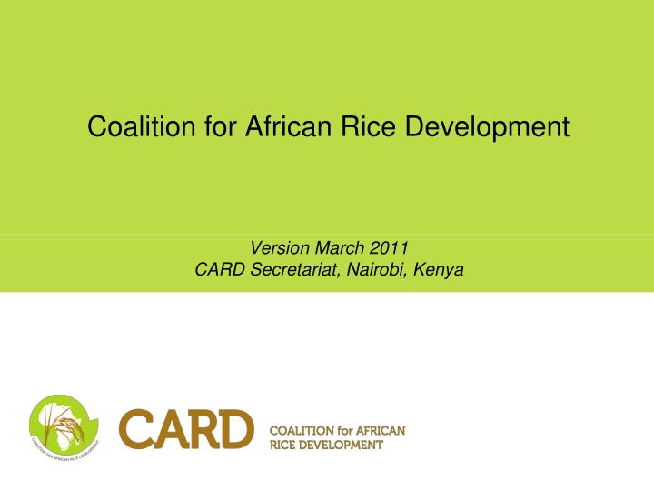coalition for african rice development n.