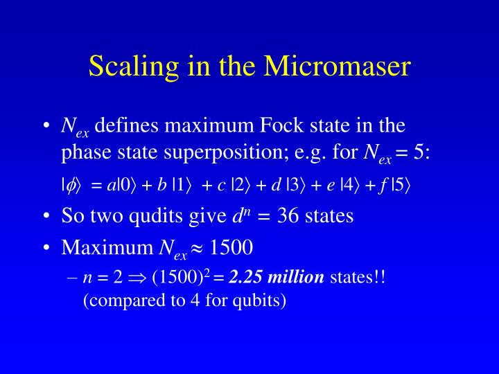 Scaling in the Micromaser