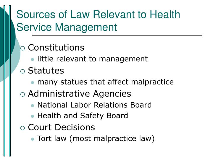 sources of law relevant to health service management n.