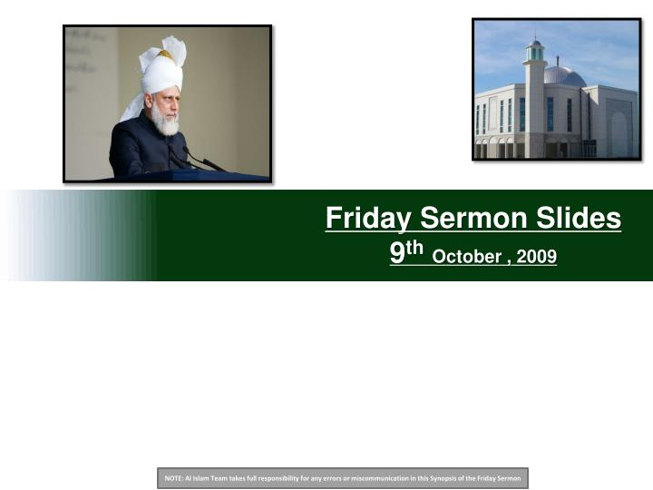 friday sermon slides 9 th october 2009 n.