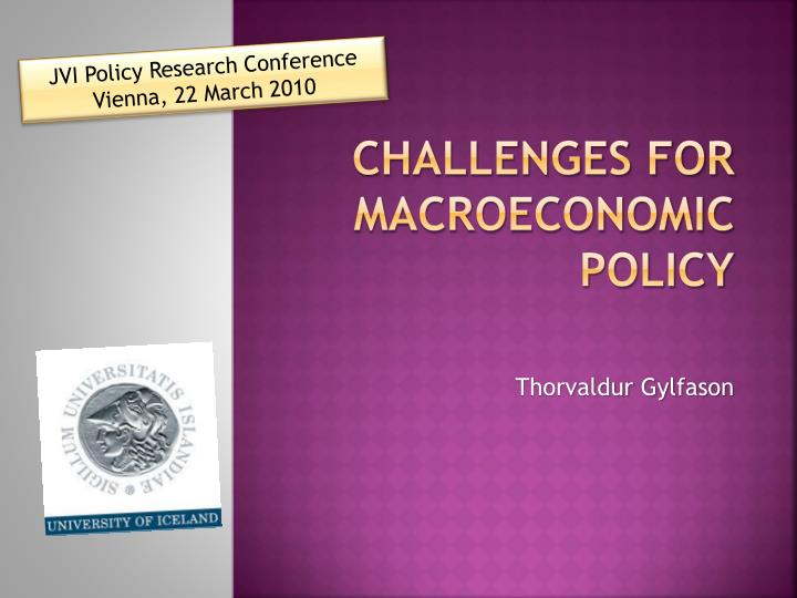 challenges for macroeconomic policy n.