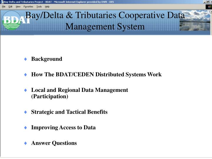 bay delta tributaries cooperative data management system n.