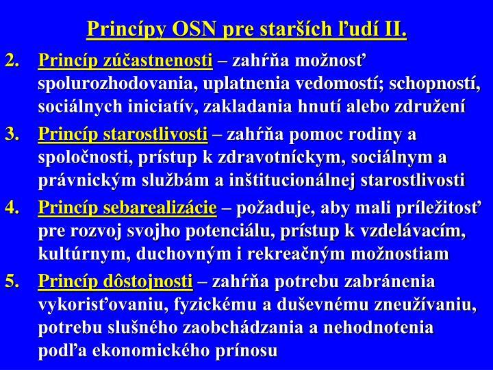 Princípy OSN pre starších ľudí II.