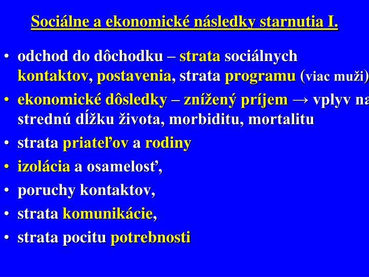 Sociálne a ekonomické následky starnutia I.
