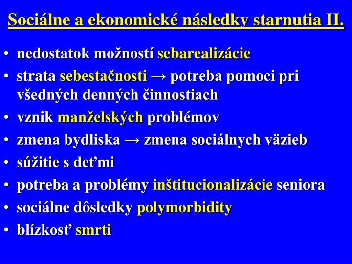 Sociálne a ekonomické následky starnutia II.