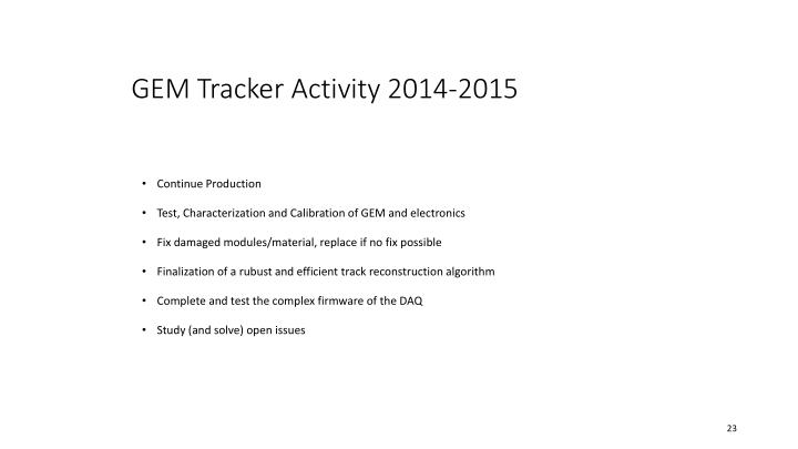 GEM Tracker Activity 2014-2015