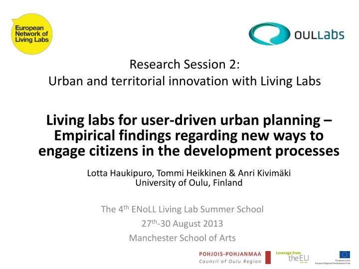 research session 2 urban and territorial innovation with living labs n.