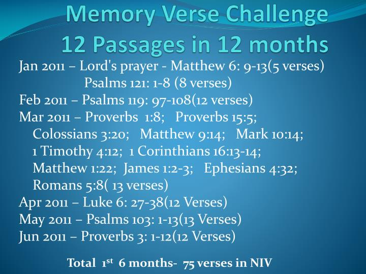 Memory verse challenge 12 passages in 12 months