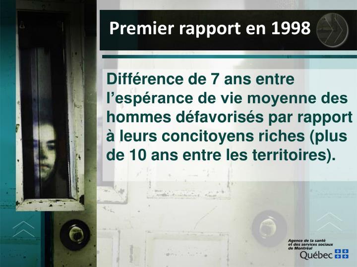 Premier rapport en 1998