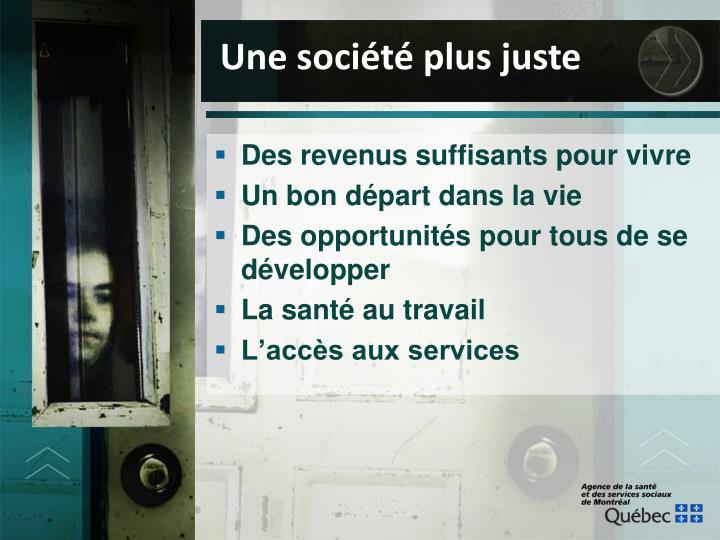 Une société plus juste