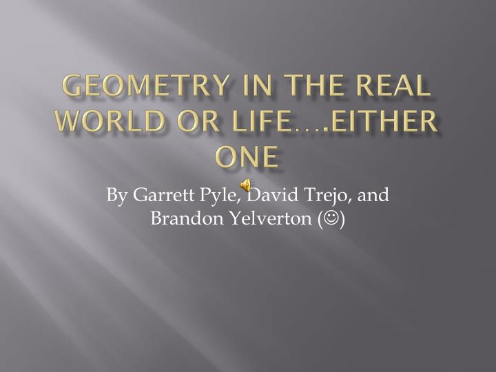 geometry in the real world or life either one n.