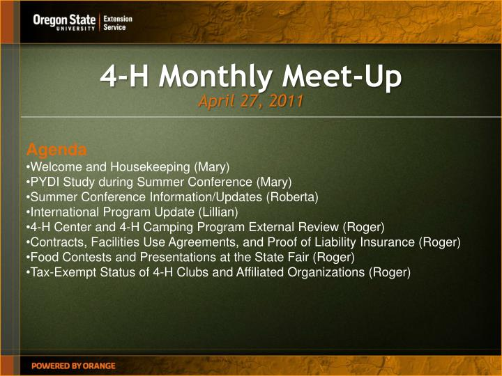 4 h monthly meet up n.